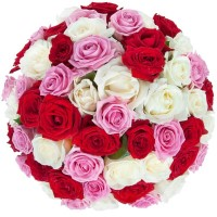 Mixed bunch of red, white and pink roses