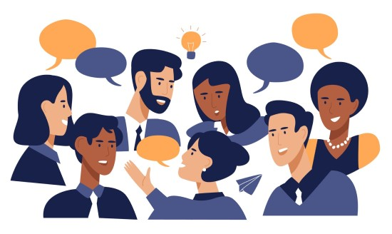 cartoon graphic of people talking