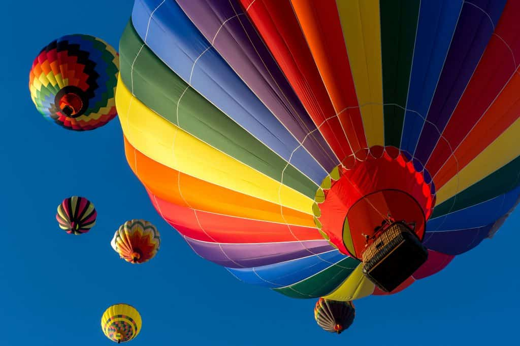 Hot air ballons in a clear blue sky